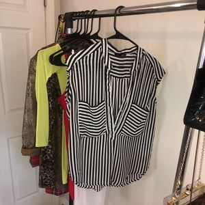 Tops - Striped Short Sleeve Blouse